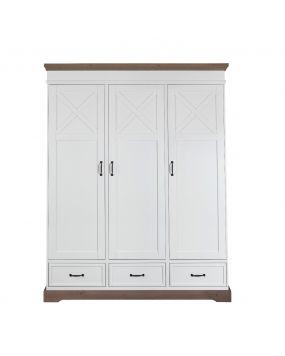 Savona Blanco / Gris con cruz - Armario (3 puertas)
