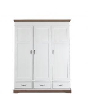 Savona Blanco / Gris sin cruz - Armario (3 puertas)