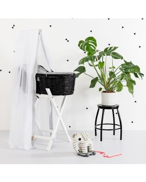 Rattan Moses Basket Black